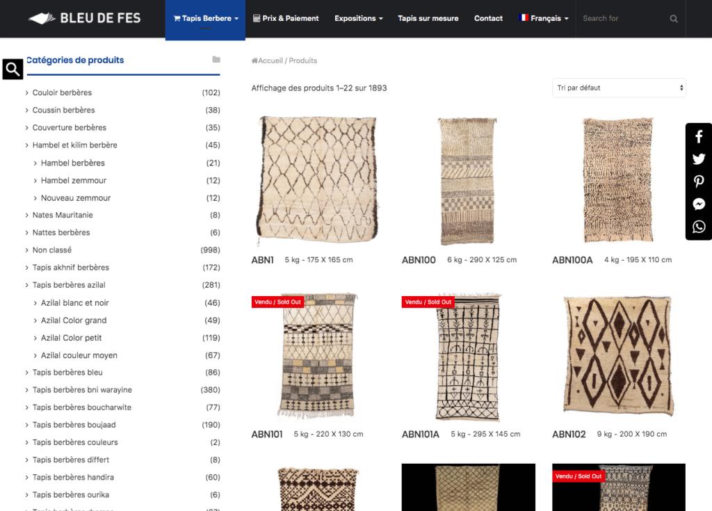 Page boutique d'un site e-commerce