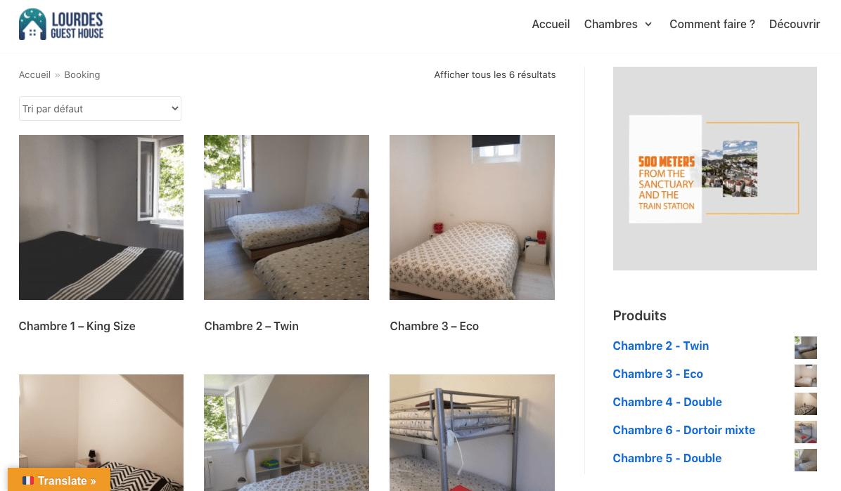 Création du site internet https://lourdesguesthouse.com/boutique/